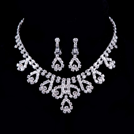 Rhinestones Pendant Necklaces Stylish Jewelry Sets Engagement