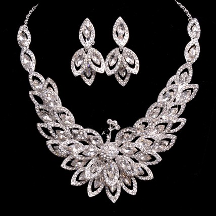 Charming/Glamourous Chain Necklaces Jewelry Sets Wedding Rhinestones