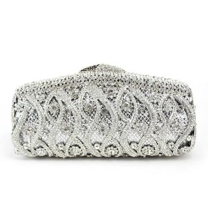 Unique Bridal Purse Single Strap Crystal/Rhinestone Metal