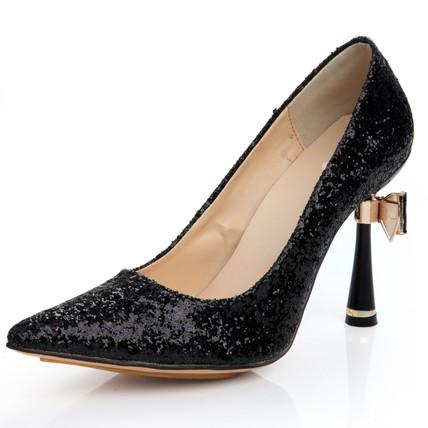 Average Pumps/Heels Sequined Cloth/Sparkling Glitter Outdoor Stiletto Heel Bowknot Girls'