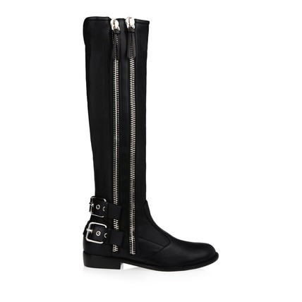 Cow Leather Wedding Shoes Knee High Boots Round Toe Zipper Flat Heel Daily