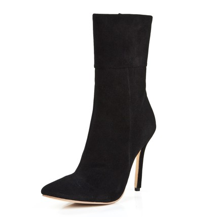 Office & Career Boots Girls' Stiletto Heel Swede Leather Zipper Mid-Calf Boots