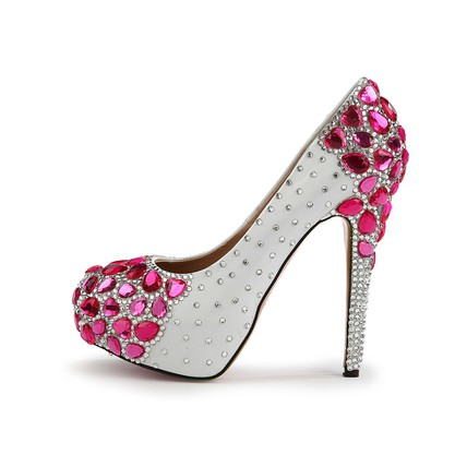Hot Pink Rhinestone Platforms Wedding Girls Average Pumps