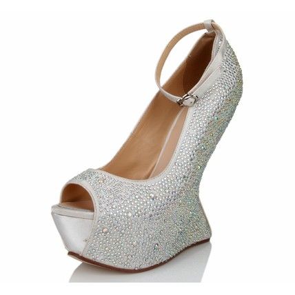 Wedding Platforms Average Satin Girls' Open Toe Wedge Heel