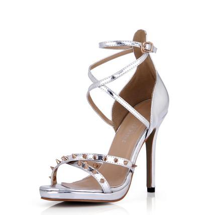 Dress Dance Shoes Women's Round Toe Average Stiletto Heel Rivet