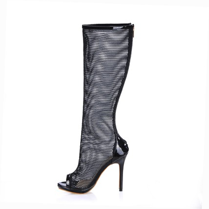 Round Toe Boots Daily Nylon Hollow-Out Mid-Calf Boots Stiletto Heel