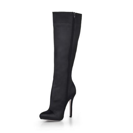 Stiletto Heel Boots Women's Zipper Silk Like Satin Average Round Toe