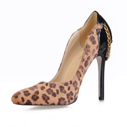 Flock Pumps/Heels Pointed Toe Party & Evening Stiletto Heel Narrow Chain