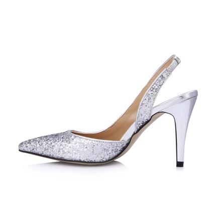silver kitten heel pumps/heels closed toe sparkling