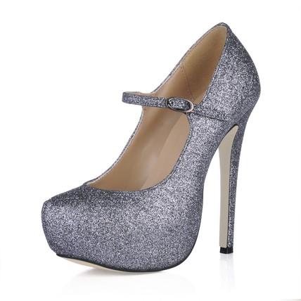 Stiletto Heel Wedding Shoes Sparkling Glitter Wide PU Mary Jane Women's