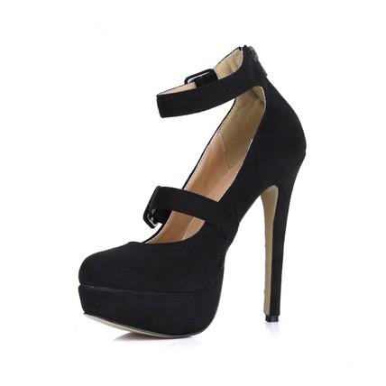 Extra Wide Dance Shoes Buckle Pumps/Heels Stretch Velvet Wedding Girls'
