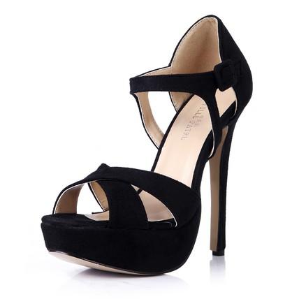 Women's Platforms Stiletto Heel Buckle Stretch Velvet Wide Round Toe