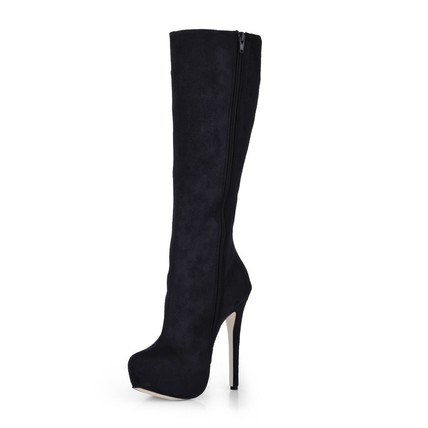 Zipper Boots Wide Boots Mid-Calf Boots Women's Stretch Fabric
