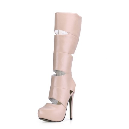 PU Platforms Average Girls' Hollow-Out Stiletto Heel Fashion Boots