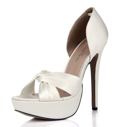 Wedding Platforms Ruched Stiletto Heel Round Toe Wide Silk Like Satin