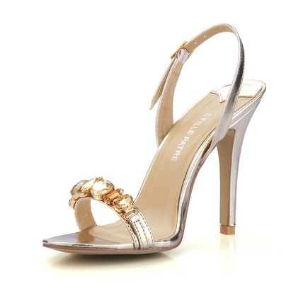Stiletto Heel Wedding Shoes Open Toe PU Rhinestone Average Office & Career