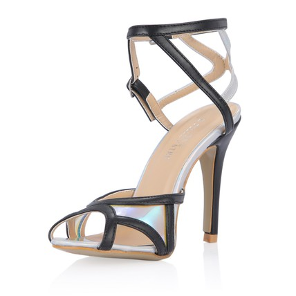 Average Sandals Party & Evening Leatherette Round Toe Buckle Stiletto Heel