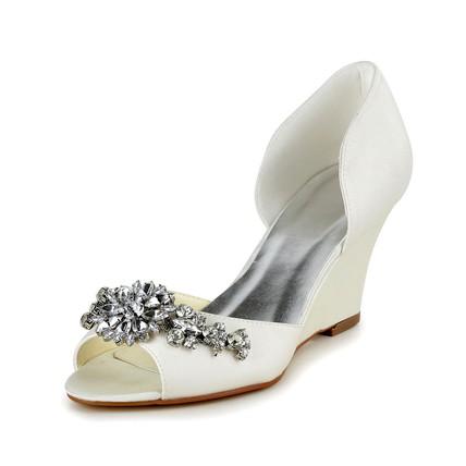 Kitten Heel Wedding Shoes Open Toe Girls' Rhinestone Party & Evening Satin
