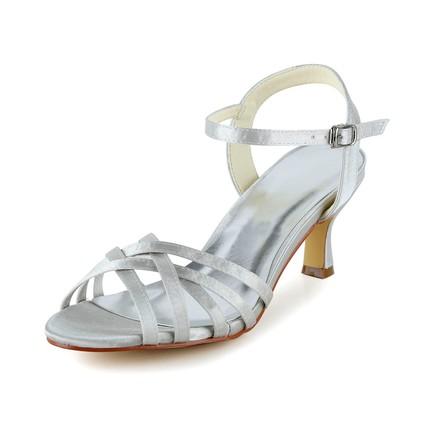 Comfort Sandals Girls' Satin Kitten Heel Casual