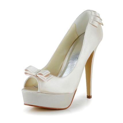 Girls' Wedding Shoes Stiletto Heel Round Toe Ribbon Tie Satin Party & Evening
