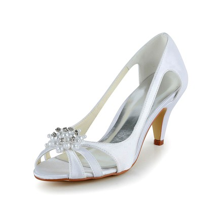 Women's Pumps/Heels Kitten Heel Honeymoon Open Toe Rhinestone Satin