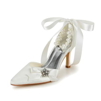 Graduation Dance Shoes Girls' Bowknot Kitten Heel Closed Toe Satin