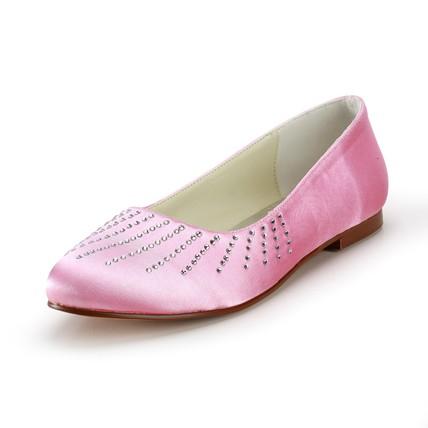 Rhinestone Loafers Comfort Low Heel Girls' Average Satin