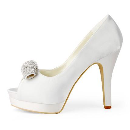 cream honeymoon platforms silk like satin pumps/heels