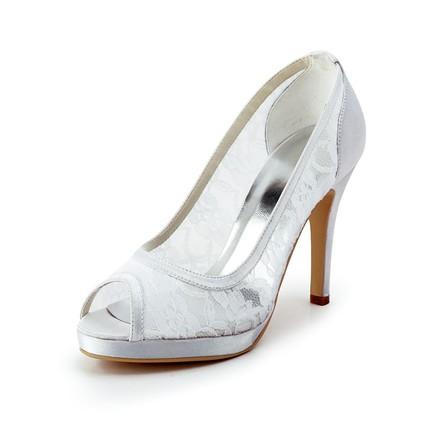 Silk Like Satin Pumps/Heels Dress Open Toe Girls' Stiletto Heel Split Joint
