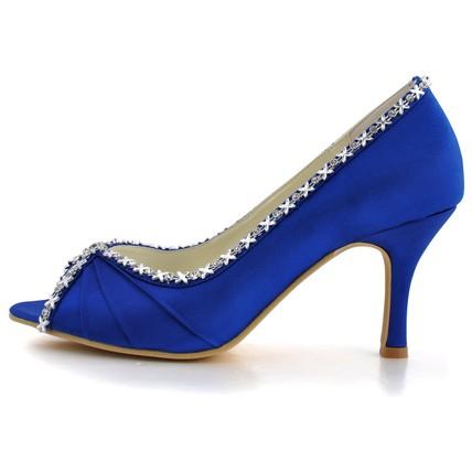 royal blue dress pumps/heels open toe kitten heel silk