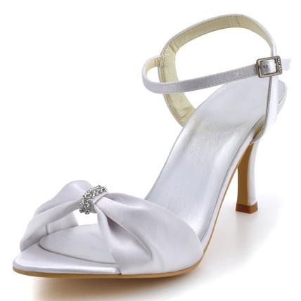 Women's Wedding Shoes Rhinestone Silk Like Satin Kitten Heel Sandals Dress