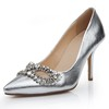 Average Pumps/Heels Dress Rhinestone Genuine Leather Pointed Toe Kitten Heel