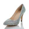 Girls' Wedding Shoes Party & Evening Genuine Leather Rhinestone Kitten Heel Average
