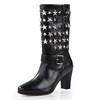Buckle Wedding Shoes Square Heel Average Mid-Calf Boots Women's Wedding