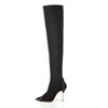 Stretch Fabric Wedding Shoes Rivet Fashion Boots Average Casual Stiletto Heel