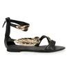 Women's Wedding Shoes Genuine Leather Open Toe Leaf Daily Flat Heel