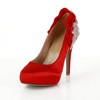Average Platforms Silk Like Satin Closed Toe Casual Women's Cone Heel