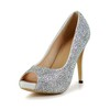 Wedding Pumps/Heels Peep Toe Women's Stiletto Heel Rhinestone Sheepskin