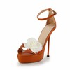 Medium Pumps/Heels Genuine Leather Buckle Sandals Party & Evening Stiletto Heel