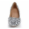 Abnormal/Fantasy Heels Wedding Shoes Honeymoon Rhinestone Closed Toe Genuine Leather Women's