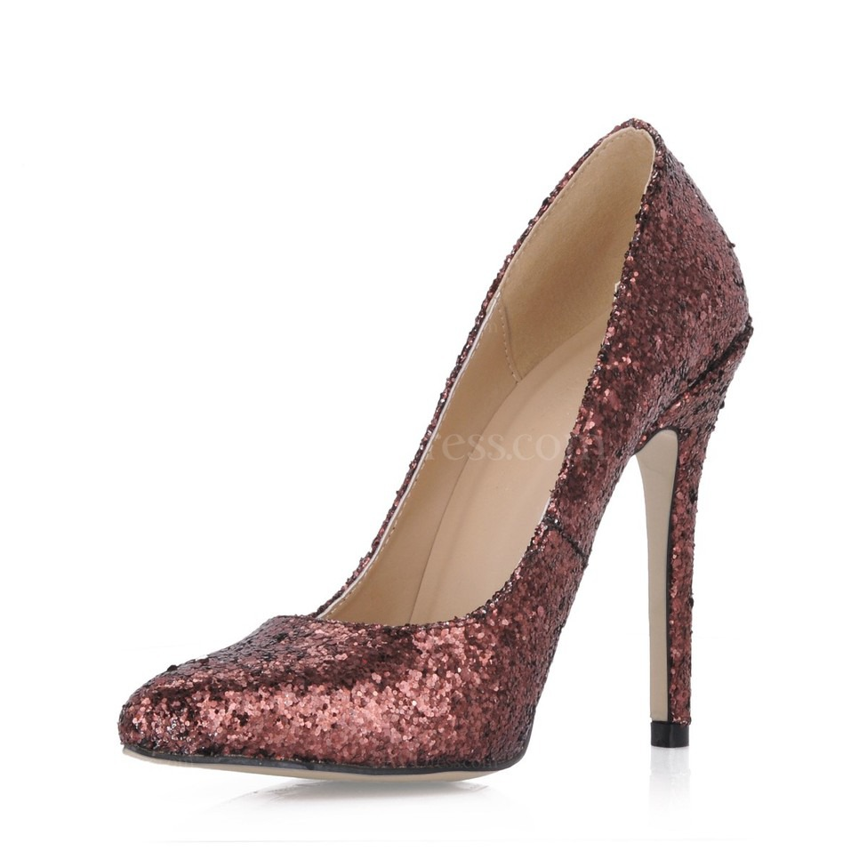 S Wedding Shoes Narrow Dress Stiletto Heel Sequined Cloth Sparkling Glitter Pumps Heels