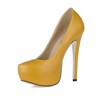 Closed Toe Platforms PU Dress Wide Women's Stiletto Heel