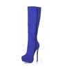 Stretch Fabric Wedding Shoes Party & Evening Mid-Calf Boots Stiletto Heel Wide Boots