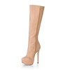 Stiletto Heel Wedding Shoes Wide Closed Toe Dress Women's Mid-Calf Boots