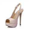 Girls' Pumps/Heels Sequined Cloth/Sparkling Glitter Buckle Office & Career Open Toe Stiletto Heel