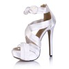 Open Toe Platforms Stiletto Heel Wide Silk Like Satin Women's Bowknot