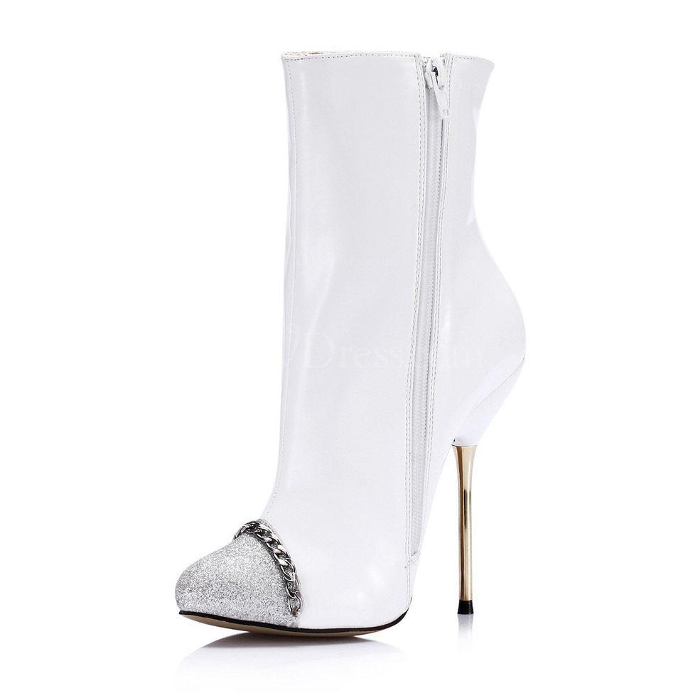 8decfb6aacf2 White Stiletto Heel Wedding Shoes Average Party & Evening Booties/Ankle  Boots Sequined Cloth/Sparkling Glitter Pointed Toe (Style S64168)
