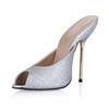 Average Slippers Sequined Cloth/Sparkling Glitter Stiletto Heel Outdoor Women's Round Toe