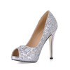 Open Toe Wedding Shoes Sequined Cloth/Sparkling Glitter Narrow Girls' Sparkling Glitter Stiletto Heel