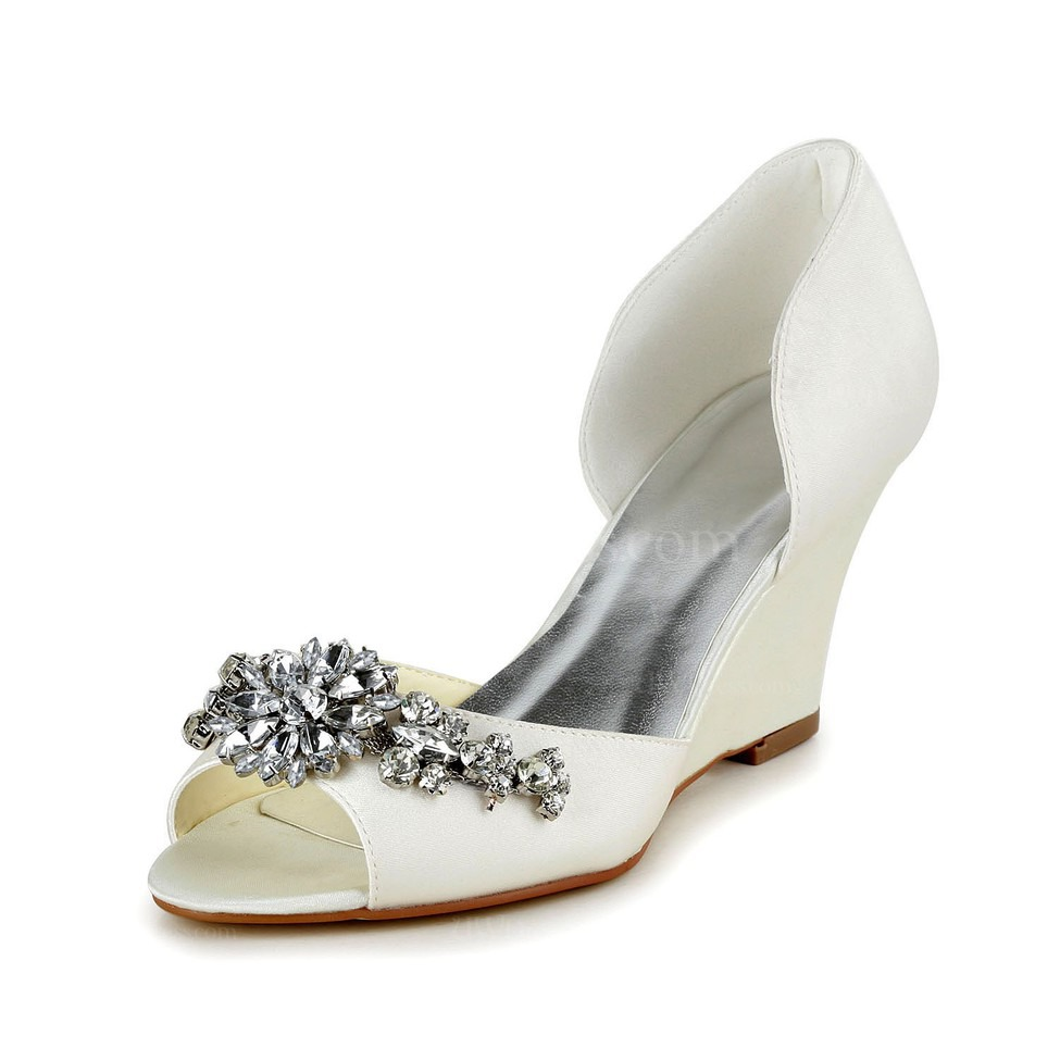 Cream Kitten Heel Wedding Shoes Open Toe Girls' Rhinestone